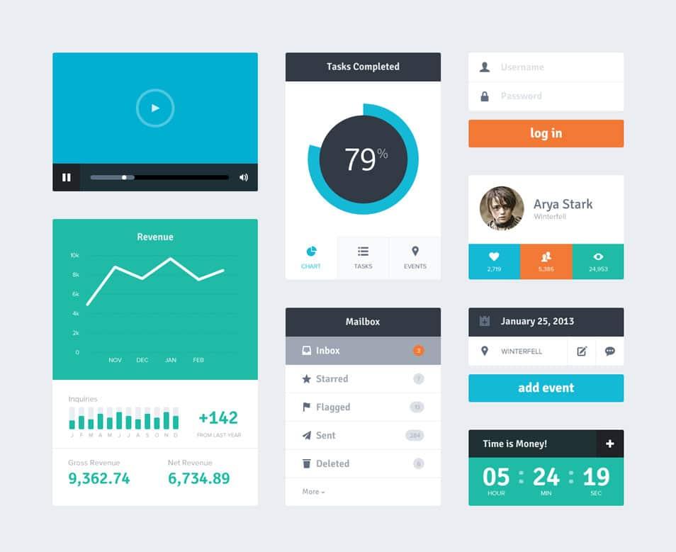 Flat UI Kit PSD