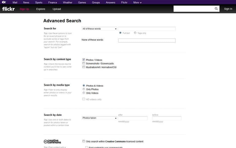 Flickr: Advanced Search
