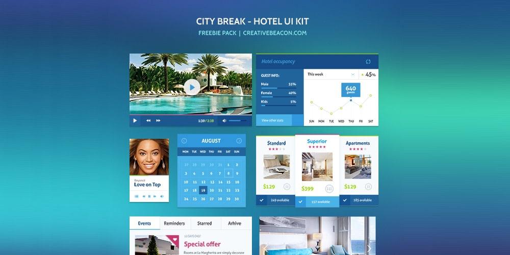 Free City Break Hotel UI Kit PSD