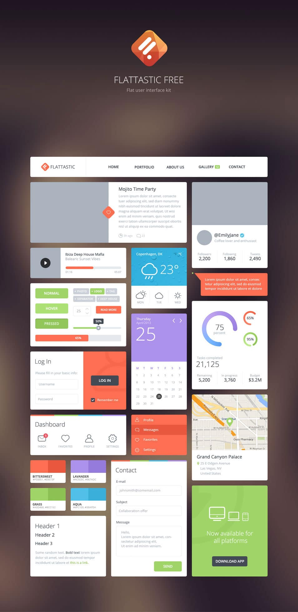 Free Download Flattastic UI kit