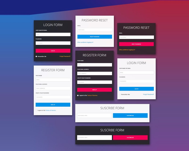 Free Login Forms PSD