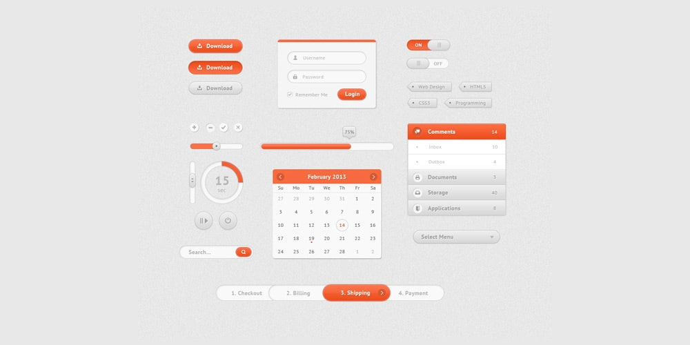 Free PSD UI Kit for Web App