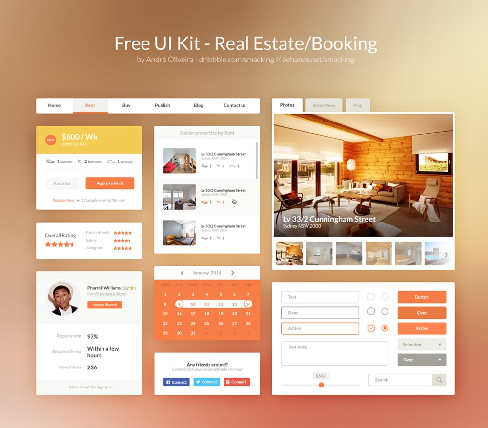 Free Real Estate/Booking UI Kit PSD