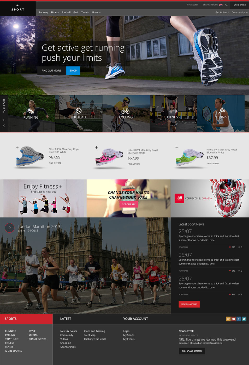 Free Sports Website PSD Template