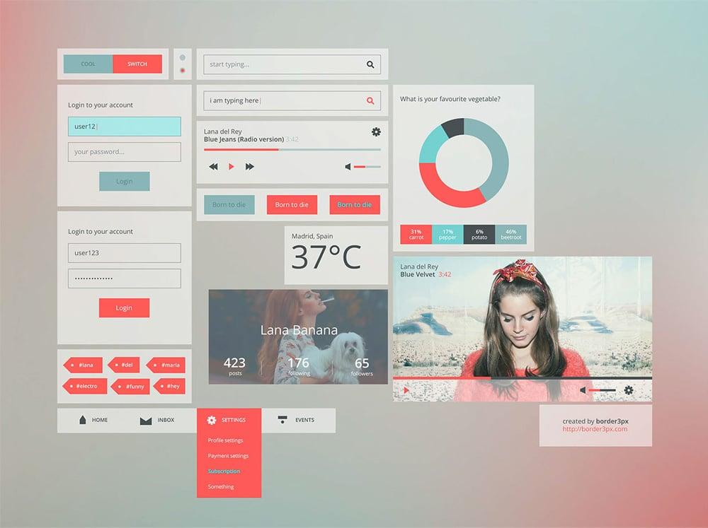 50+ Latest Free Mobile UI Elements Design Kits