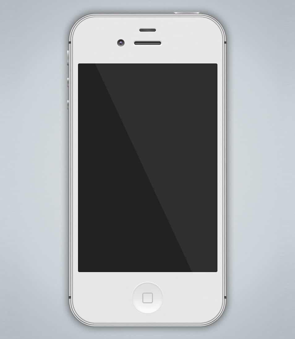 Free White iPhone 4S PSD Mockup 326ppi