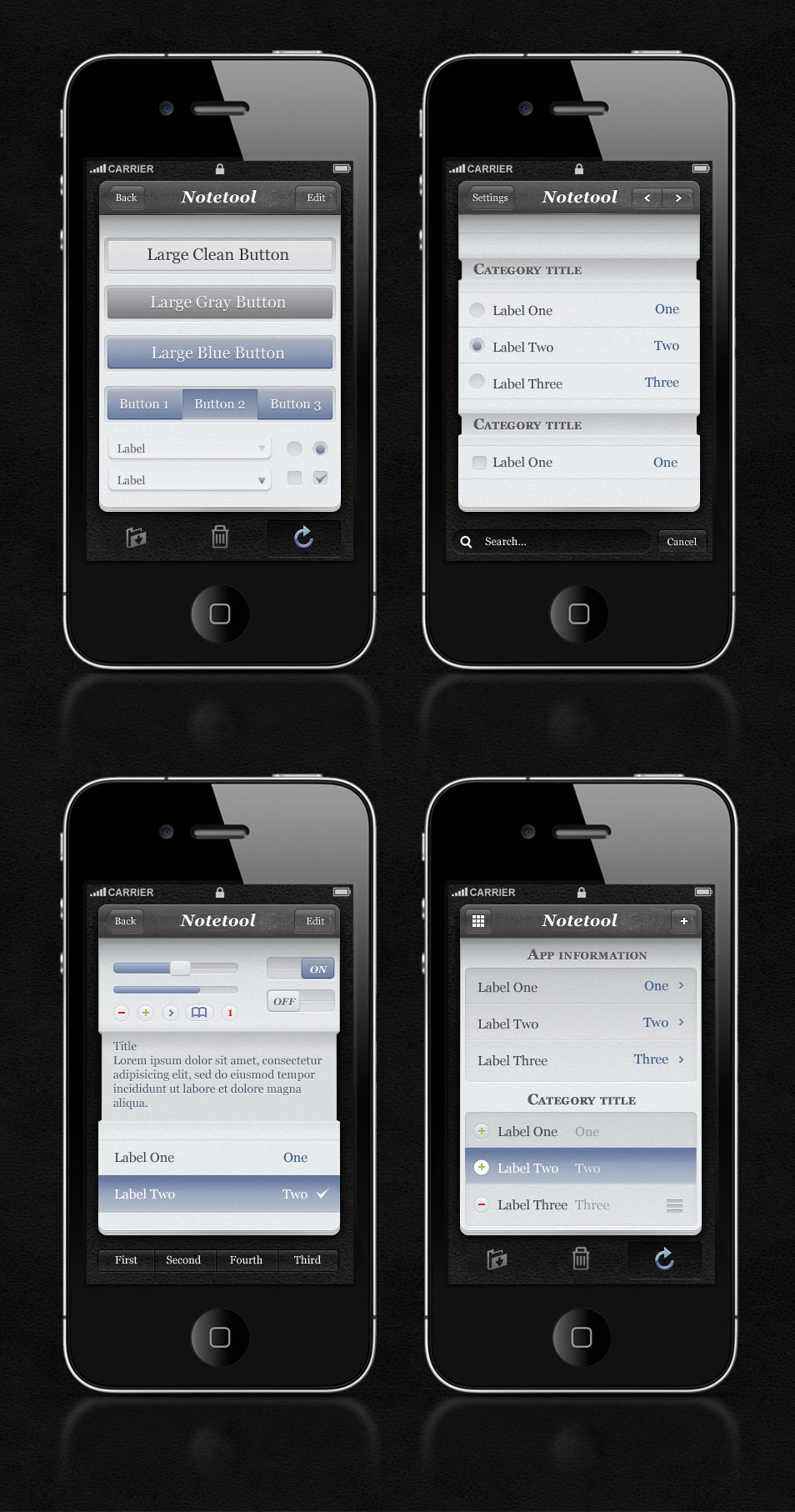 Free iPhone App UI Kit Psd