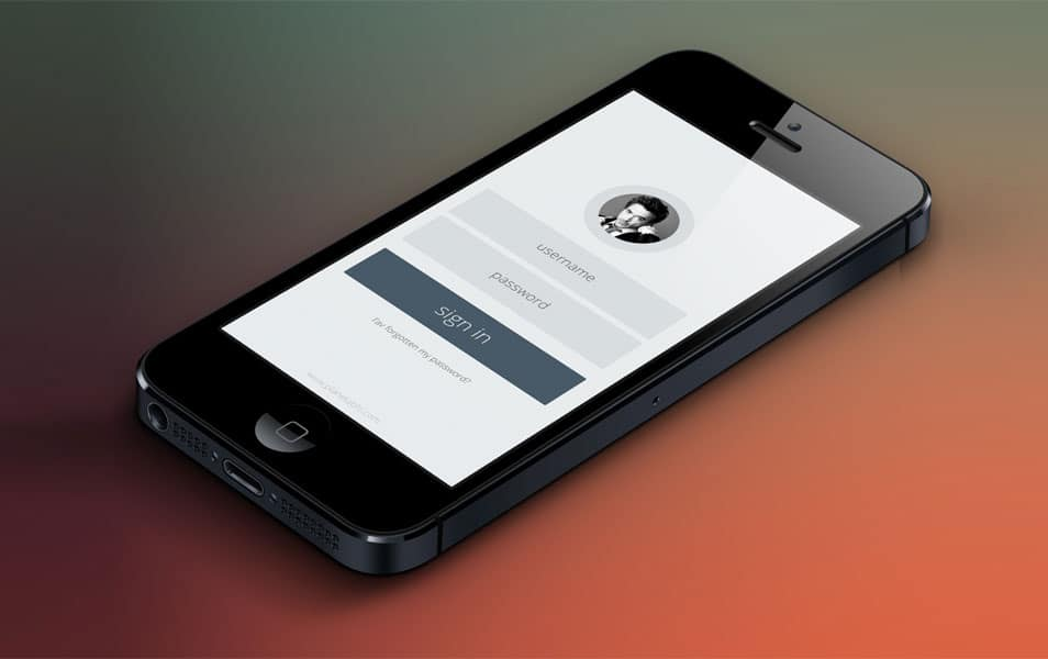Free Minimal App Login Form PSD