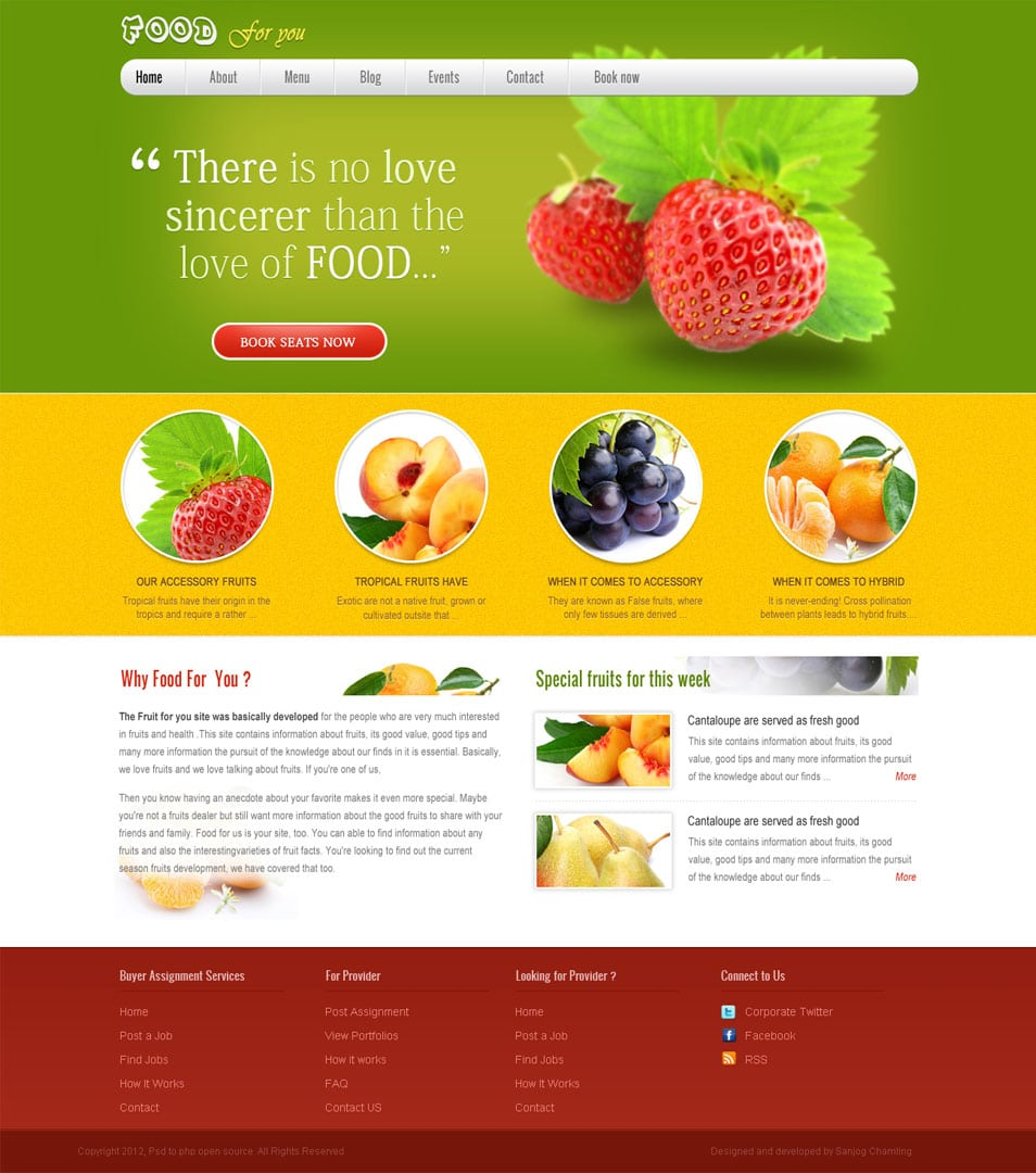 Free psd website templates – Fruits Business Template