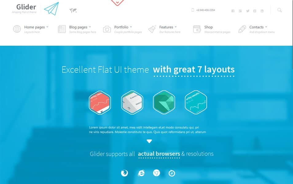 Glider • Clean & Powerful Flat stylish theme