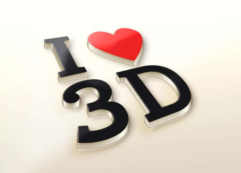 I Love 3D Logo MockUp