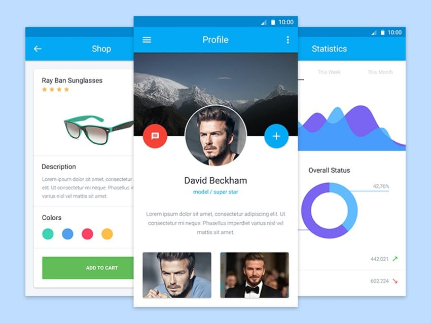 Material Design Mobile UI kit PSD