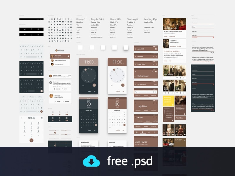 Material Design UI Kit PSD