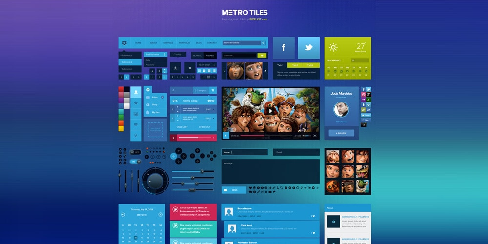 Metro Tiles UI Kit PSD