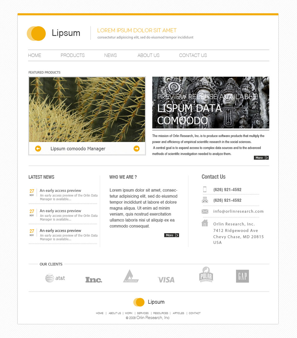 Minimal Website Design PSD Template - cssauthor.com