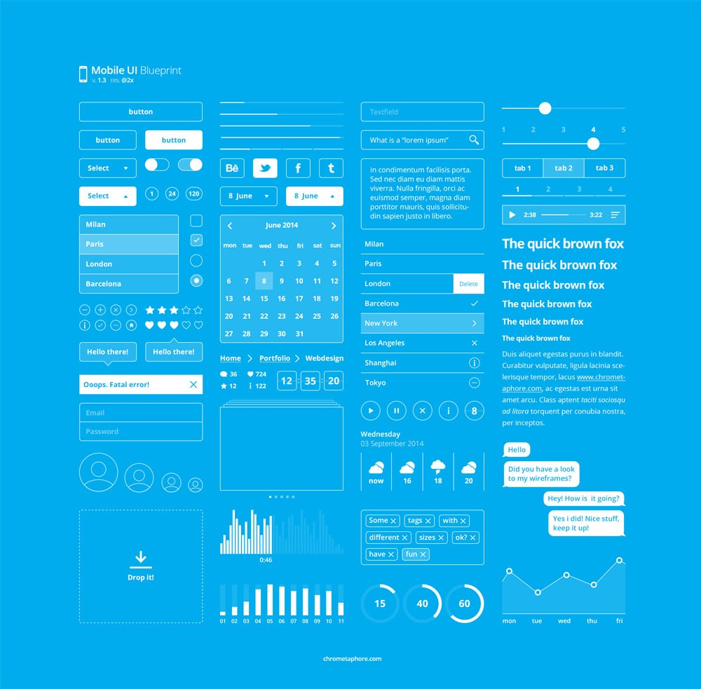 50 latest free mobile ui elements design kits for Blueprint app free