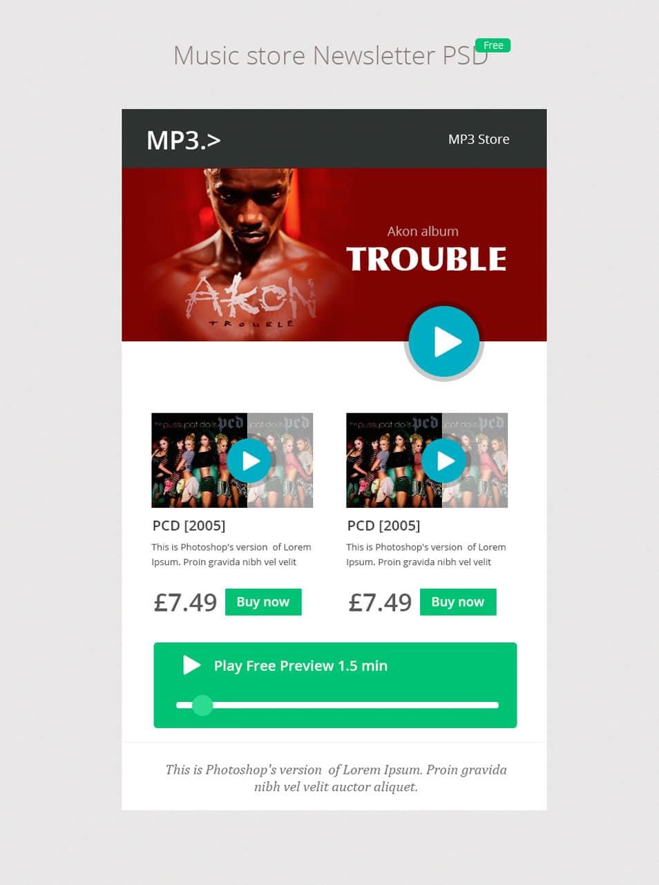 Music Store Newsletter PSD - cssauthor.com