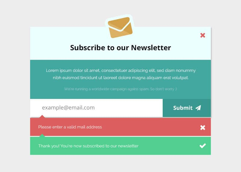 Newsletter Subscription Form Mockup PSD