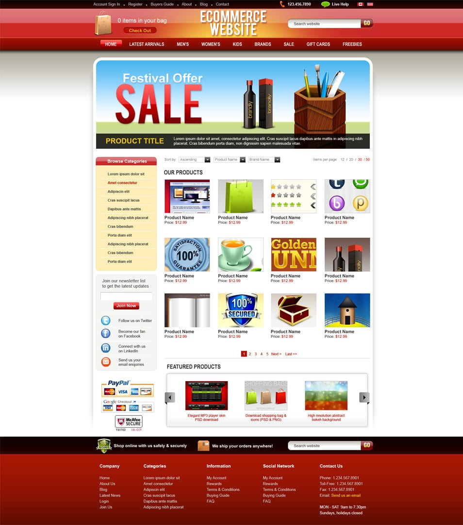 e commerce sites templates - latest free web page templates psd css author