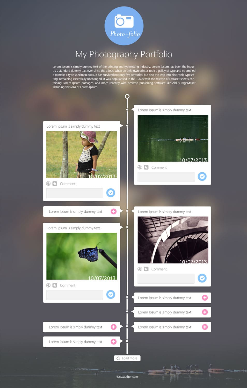Free Portfolio Website Templates PSD CSS Author – Timeline Website Template