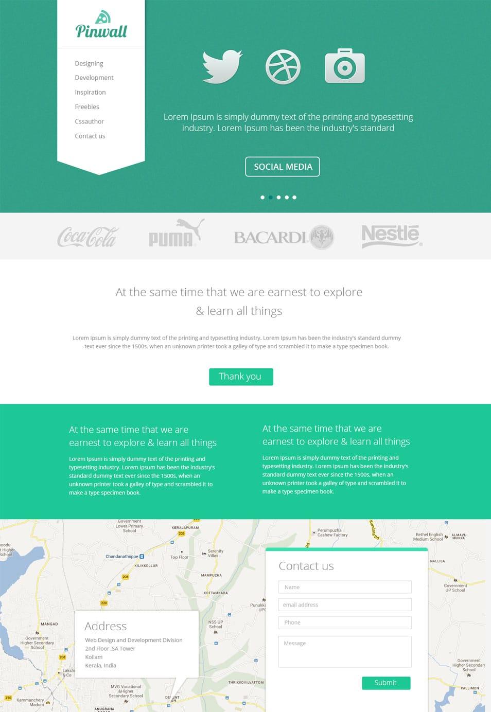 pinwall modern website template psd