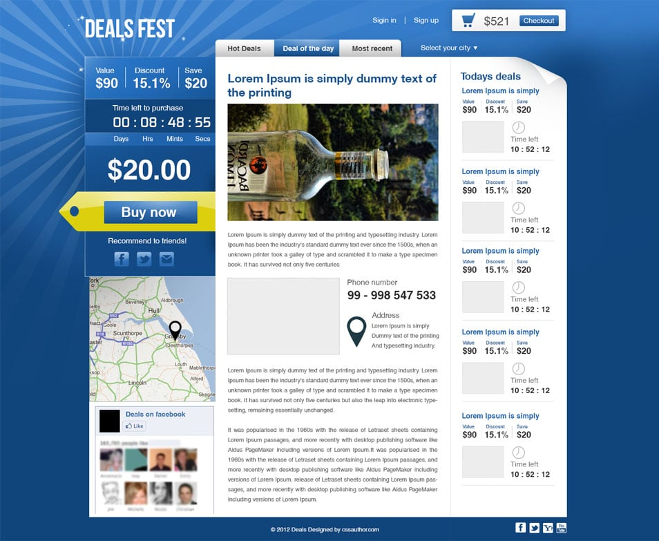Premium Beautiful Deals Website PSD Template - cssauthor.com