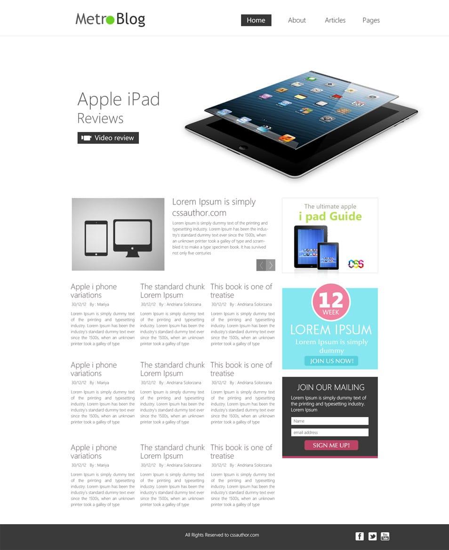 Premium Metro Style Blog Template PSD - cssauthor.com
