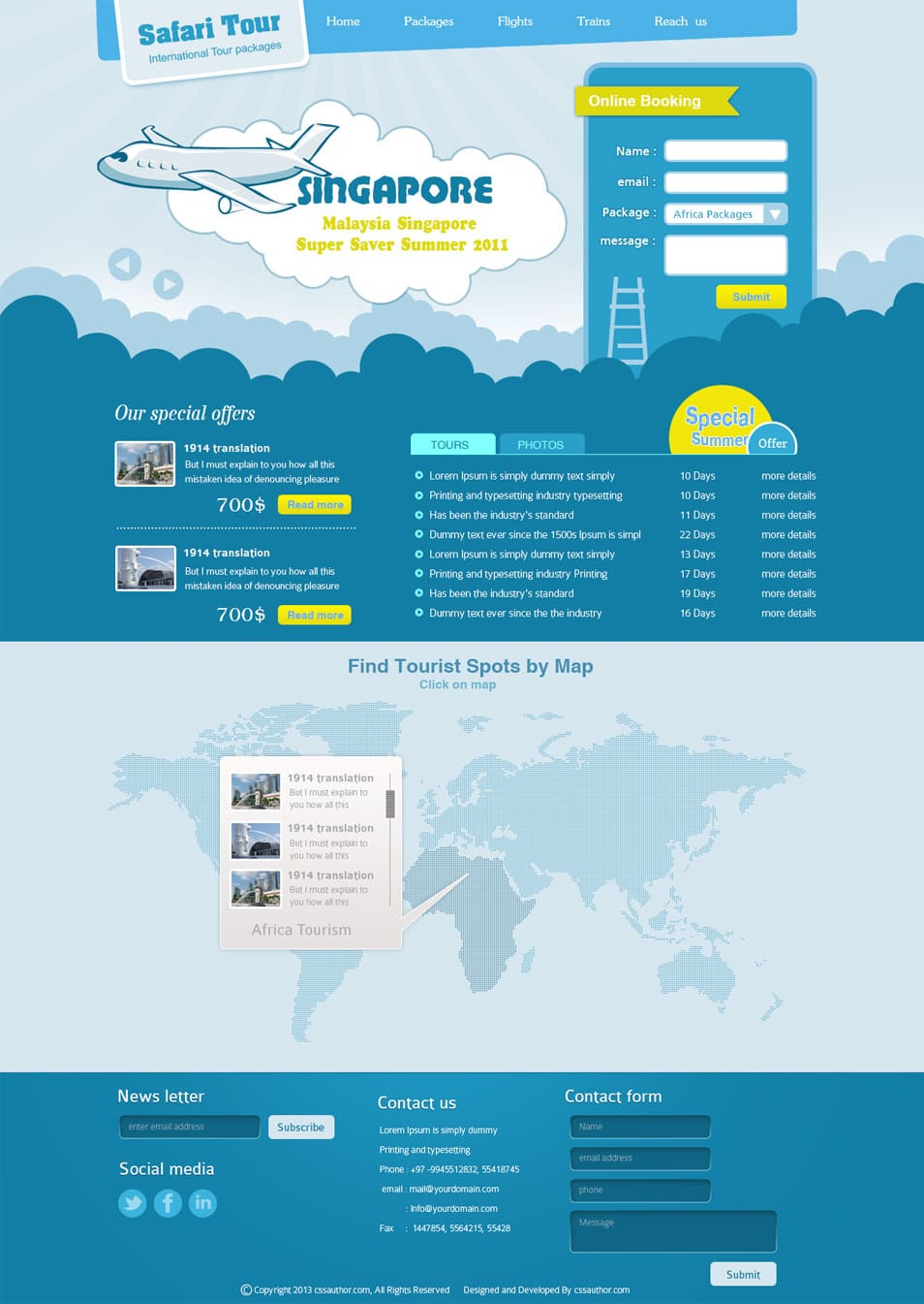 Premium Travel Web design Template PSD - cssauthor.com