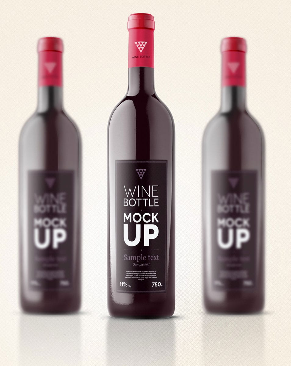 Psd Wine Bottle Mockup Template