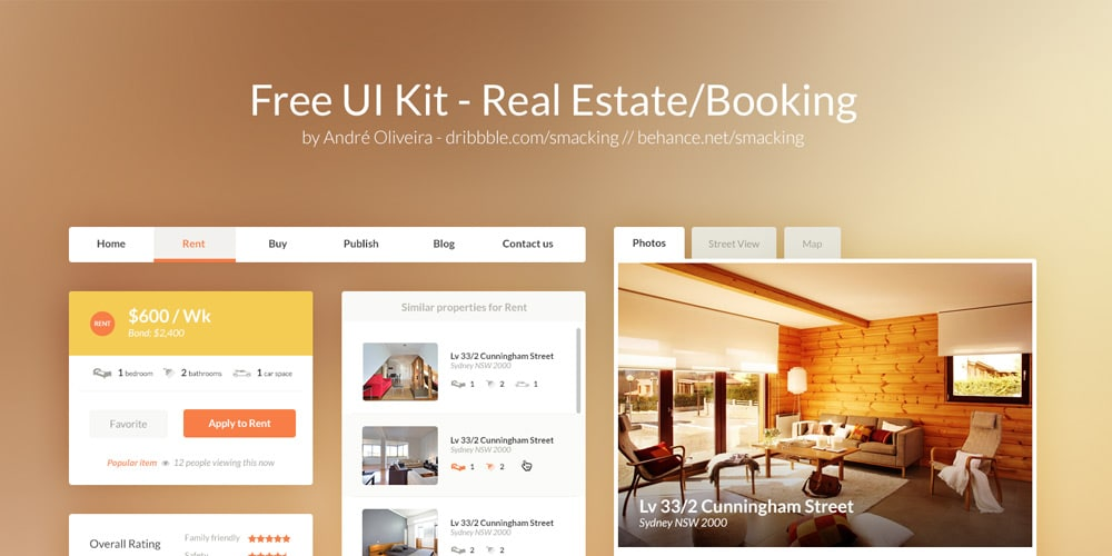 Real Estate Booking UI Kit PSD