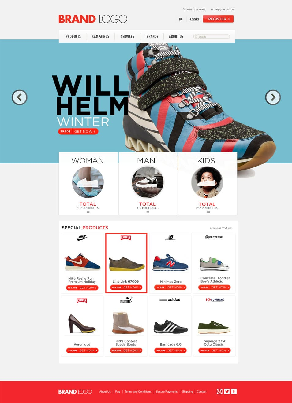 Online Shoes Website Templates