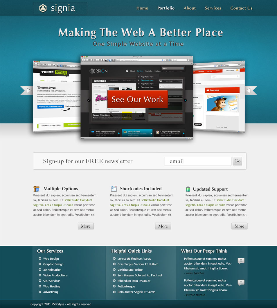 latest free web page templates psd css author