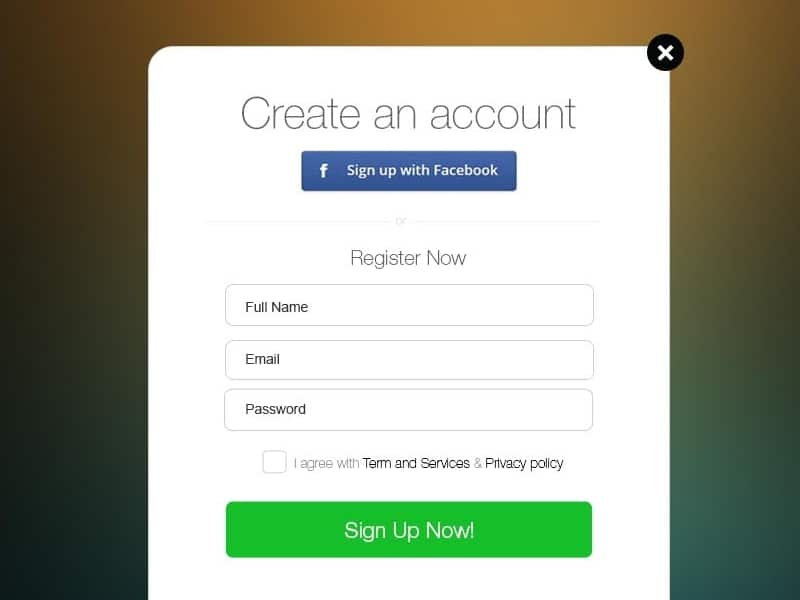 Signup Form Free Psd