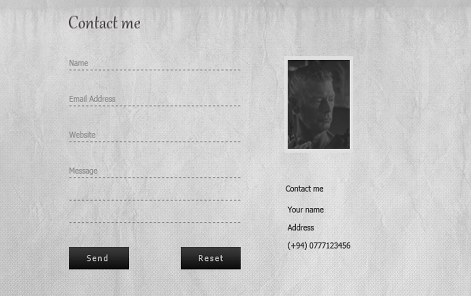 Simple Contact Form PSD