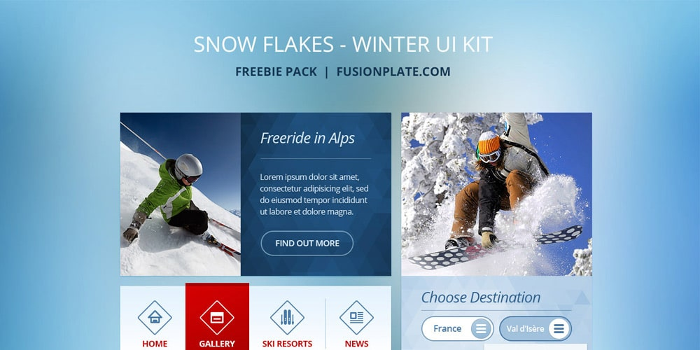 Snow Flakes Free UI Kit PSD