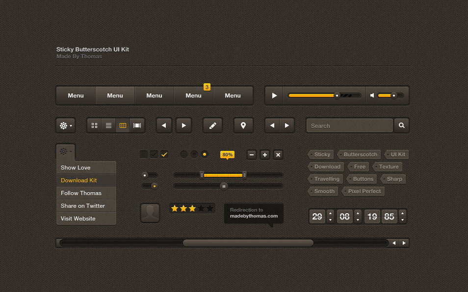 Sticky Butterscotch UI Kit PSD