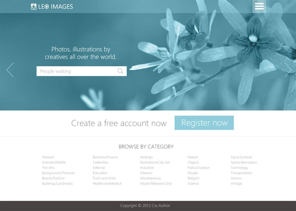 Stock Photos Website Template PSD - cssauthor.com