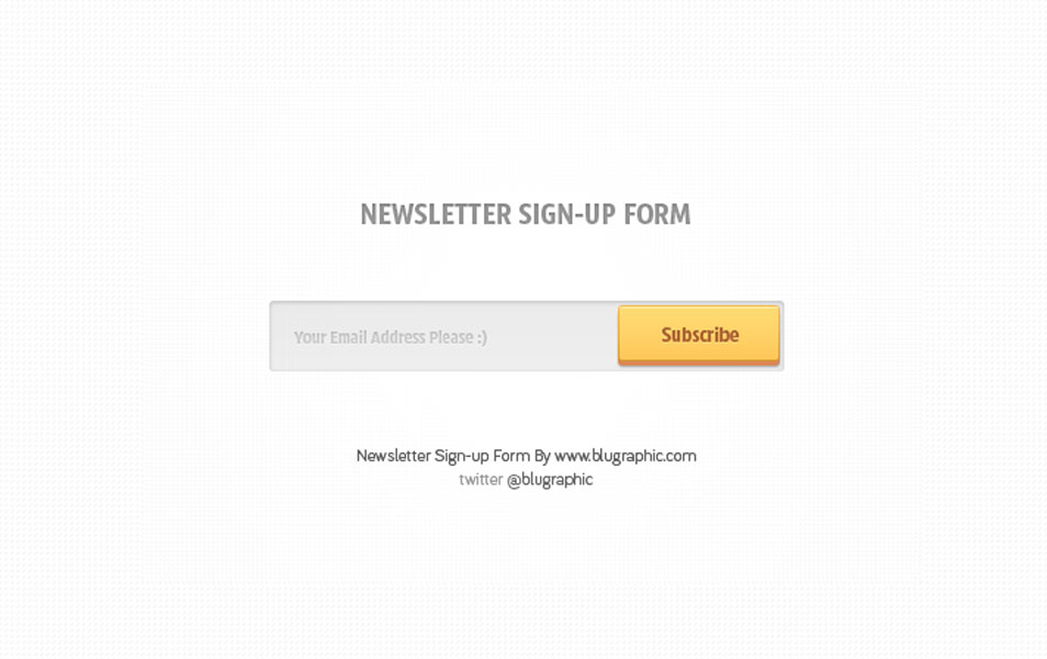 Subscribe to Newsletter Form Psd
