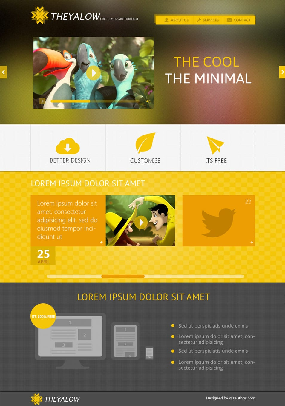 THEYALOW – A Responsive Web Design Template PSD - cssauthor.com