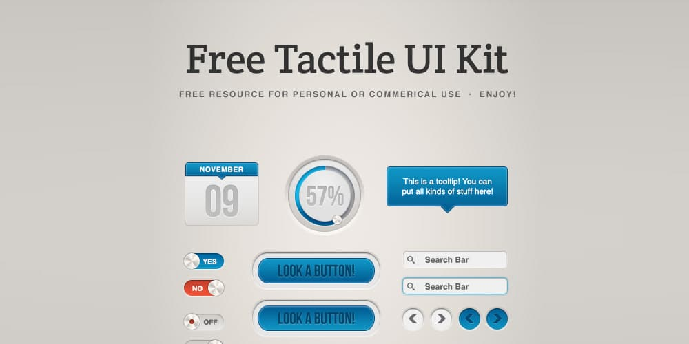 Tactile UI Kit PSD