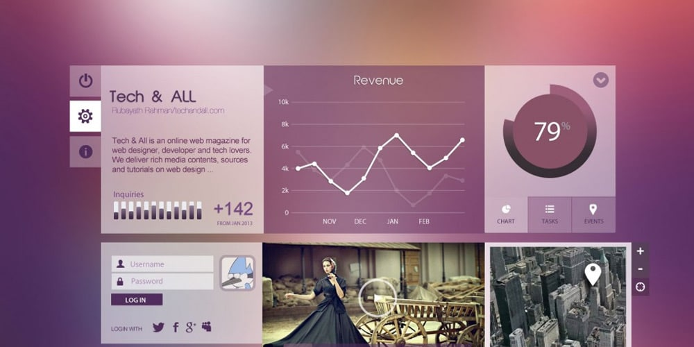 UI Components Purpel City PSD