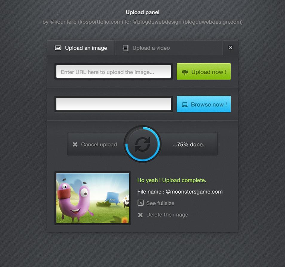 Upload Panel UI Kit