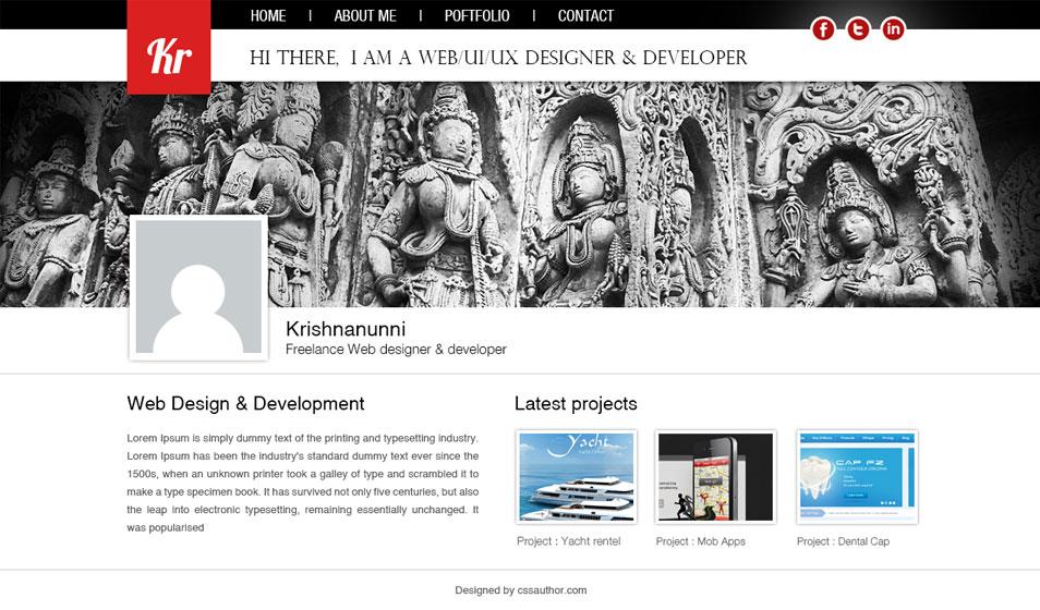 Web Designer Portfolio Template PSD - cssauthor.com