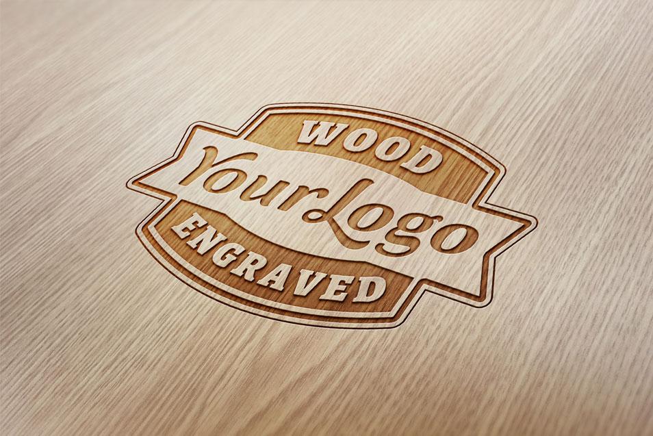 Wood Engraved Logo MockUp