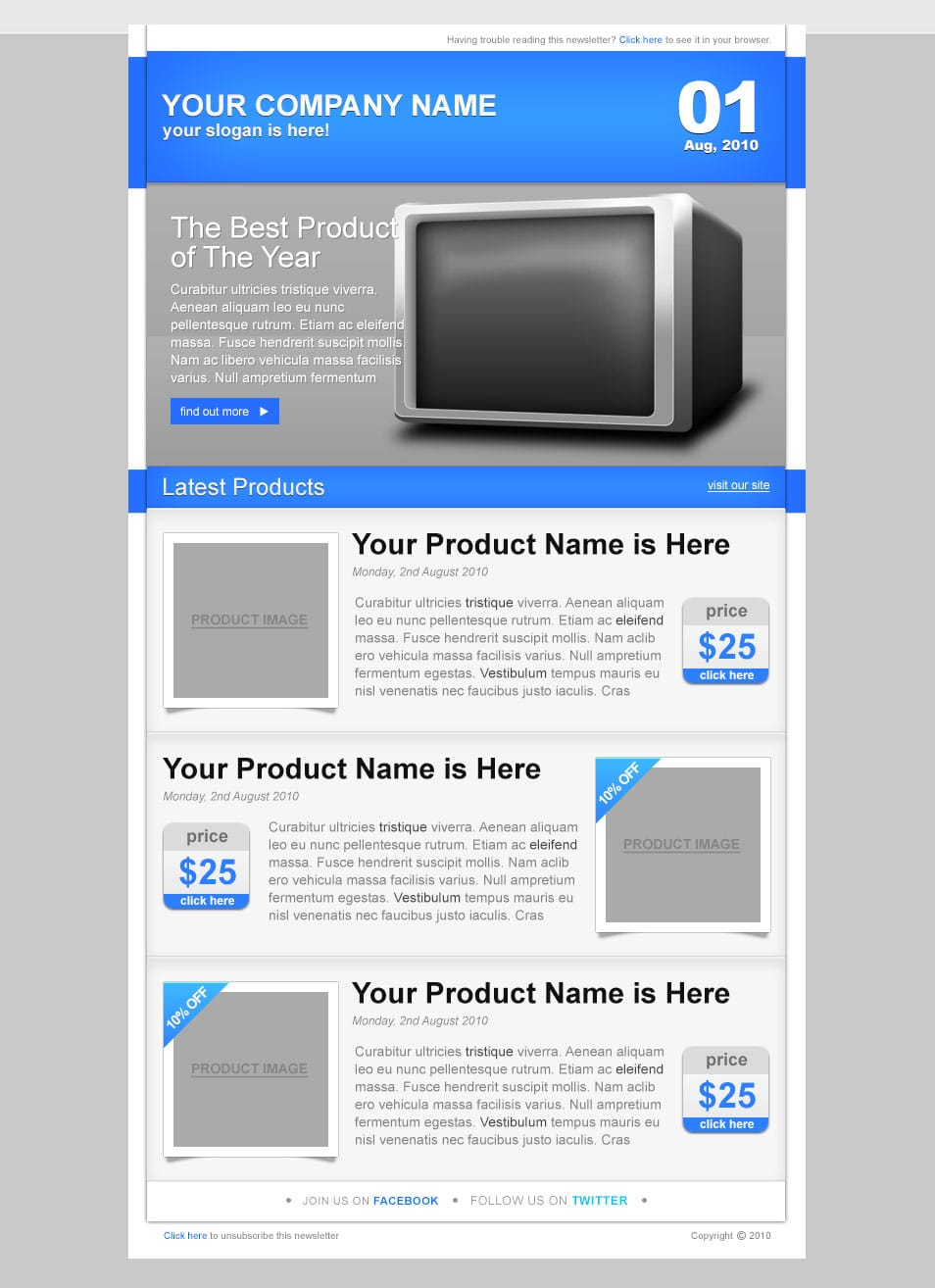 best free email newsletter design templates  u00bb latest