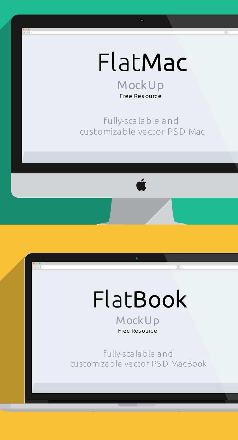 iMac & Macbook Psd Flat Mockup