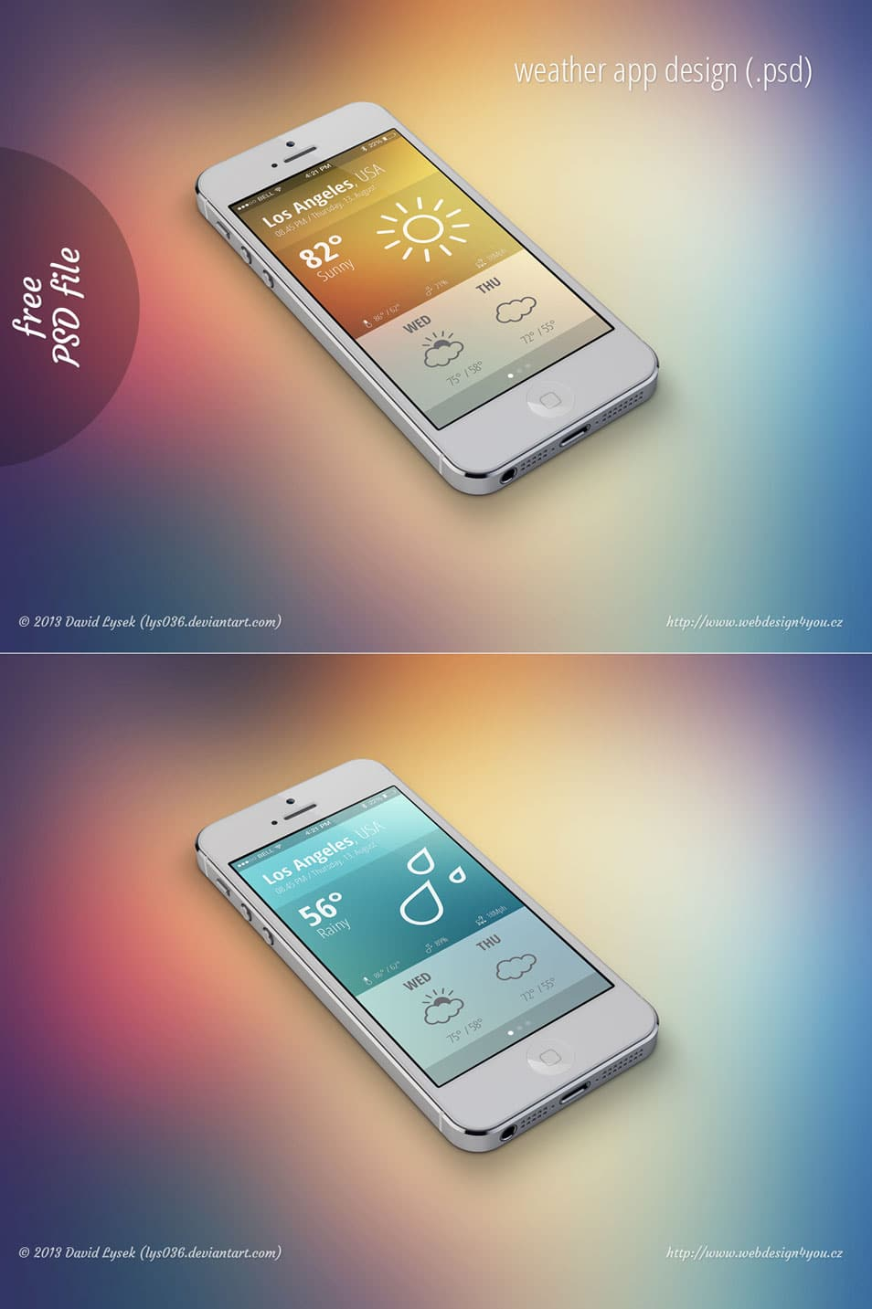 iOS 7 Style Weather App GUI PSD