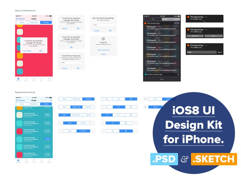 iOS 8 UI Design Kit PSD