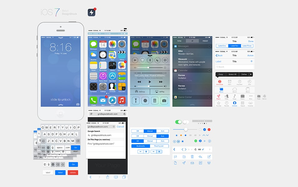 iOS7 Ui Kit PSD
