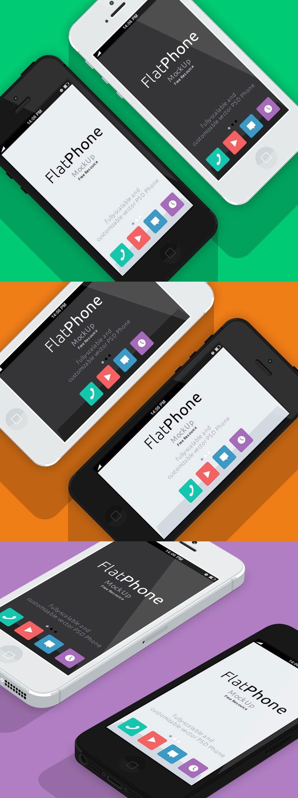 iPhone 5 Psd Flat Design Mockup